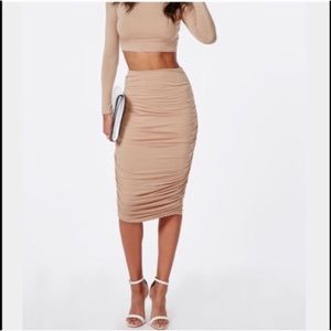 Missguided Ruched Nude midi skirt